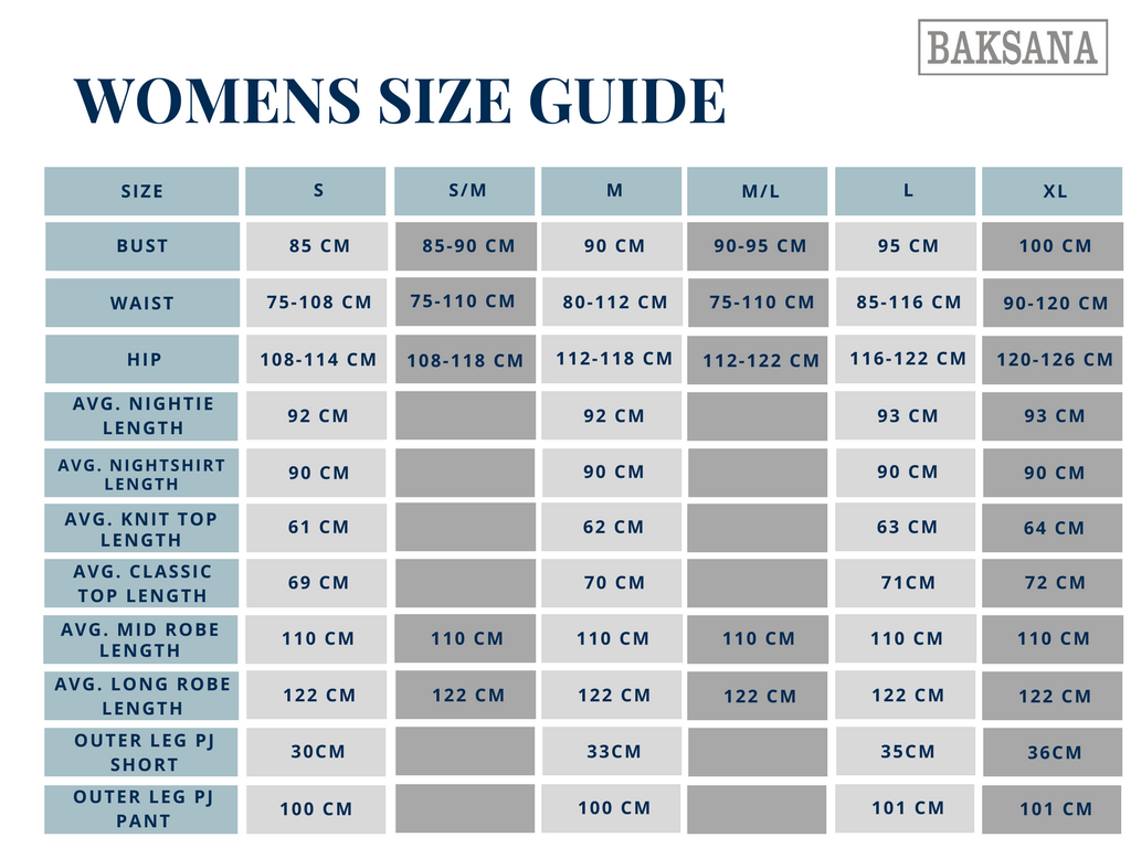 Women's Nightwear Size Guide